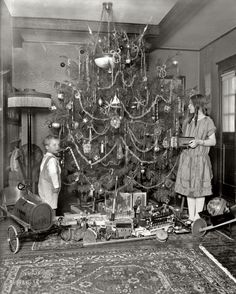 Christmas 1920 -very similar tree to one in am old family photo. Obviously not from a Christmas tree farm.