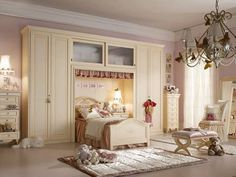 Teen Bedroom:Charming Neutral Master Bedroom Design For Girl Along With Low Hanging Huge Crystal Chandelier Shade Over Plain Beige Rectangle Fur Area Rug Cute Teenage Girl Bedroom Interior Design in Pink and White Color Scheme
