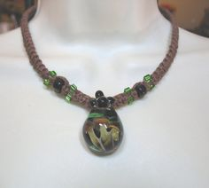 Hemp Necklace with Glass Mushroom Garden Pendant by CARRIEandGREG, $22.50