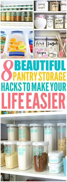 These 8 Clever pantry organization and storage hacks and tips are THE BEST! I'm so glad I found these AWESOME ideas! Now I have some great ways to organize my pantry and keep it that way!