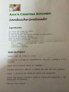 Sanduíche gratinado - Ana's Cristina Kitchen