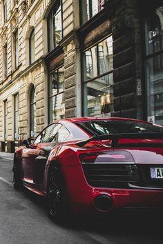 Audi Red Coupe in a Cityscape Art Print - Cars - Audi A, Red Audi, Black Audi, Bmw I8, Porsche, Car Images, Car Photos, Logo Images, Supercars