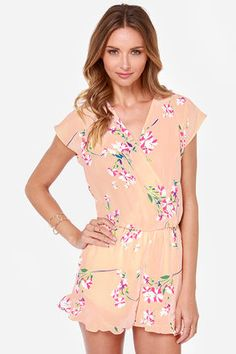 Beg Your Garden Peach Floral Print Romper at LuLus.com! LOVE this, comfy and cute for SUMMER TIME :)