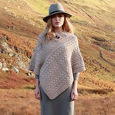 88661cd59ec Ladies Wool Poncho - Made in Ireland - 100% Pure Irish Wool