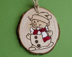 Snowman Wood Burned Ornament