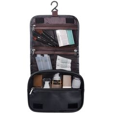 Hanging Toiletry Travel Bag Organizer Cosmetic Wash Case Leather Men Women  Black  HD Mens Travel c0a3b6058b