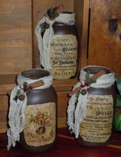 Primitive Christmas | Primitive Christmas Mason Jar Collection 1 by TheBarnHollow