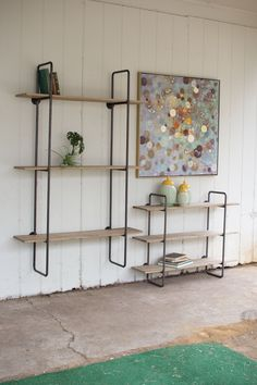 Industrial Pipe & Wood Shelving Unit Large