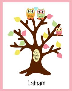 Owl Family Tree Pirnt personalized 8x10 art print/owl bathroom decor/owl bathroom art made to match circo love n nature set