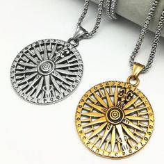 Viking/Norse Compass-Style Stainless Steel Pendant Gold-Tone Or Steel With Box Chain Necklace Unisex