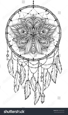Hand drawn Native American Indian Talisman dream catcher with feathers and moon. Vector hipster illustration isolated on white. Coloring book for adults. Coloring Pages For Grown Ups, Printable Adult Coloring Pages, Cool Coloring Pages, Mandala Coloring Pages, Coloring Pages To Print, Coloring Books, Dream Catcher Coloring Pages, Dream Catcher Drawing, Dream Catchers