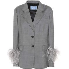 Prada Feather-Trimmed Wool Blazer (137.300 RUB) ❤ liked on Polyvore featuring outerwear, jackets, blazers, grey, grey wool blazer, grey wool jacket, blazer jacket, wool blazer and woolen jacket
