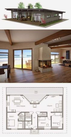 Three Bedroom Tiny House Plans Elegant Small House Plan Three Bedrooms Carport Small Home Design Tiny House Design, Modern House Design, Casas Containers, Small House Plans, One Floor House Plans, Small House Floor Plans, Modern House Plans, Pool House Plans, Beautiful House Plans