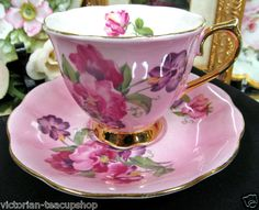 ROYAL ALBERT TEA CUP AND SAUCER PINK TEACUP AND SWEET PEA FLOWERS