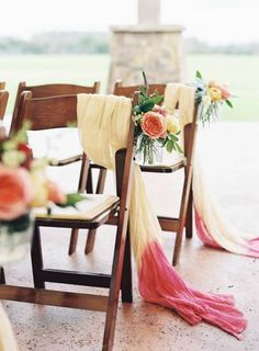 We are swooning over these lovely chair details. Photos by Brett Heidebrecht Photography. Rentals by Loot Vintage Rentals. Flowers by Sweet Magnolia Floral Studio. #austin #watercoloraustinwedding