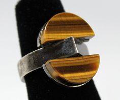 Vintage Modernist Signed Uwe Moltke Denmark Sterling Silver Ring Tigers Eye 60s $325