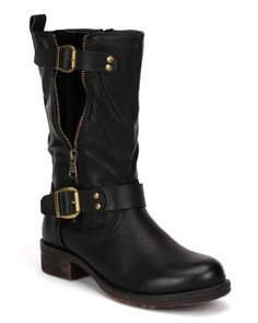 Nature Breeze Richie-04 Leatherette Faux Zipper Decor Mid Calf Riding Boot - Black (Size: 6.0) >>> Check this awesome product by going to the link at the image.