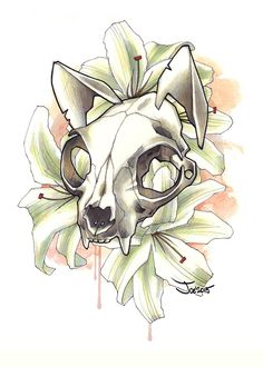 Just a drawing based off of a cat skull with semi transparent eyes. Animal Skull Tattoos, Animal Skulls, Animal Skull Drawing, Cat Tattoo, Tattoo Drawings, Art Drawings, Tattoo Free, Kunst Tattoos, Body Art Tattoos