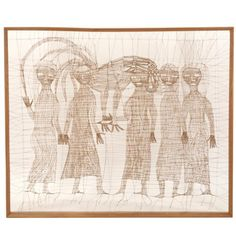 Circle of Sue Fuller, large string composition, Abstract portrait of six figures, String and hardwood #stringart #portraiture