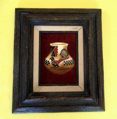 ERV JOHNSON ACRYLIC On Suede Hopi Pottery Maria Martinez San Ildefonso Signed Wood Framed Mexico Vintage Native American Southwestern Art by MADONNASCOLLECTIBLES on Etsy