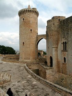 Castillo de Bellver, Mallorca, Spain. We took a cab because the walk was steep and the day was warm. It was interesting to walk the castle hallways and imagine life there long ago.