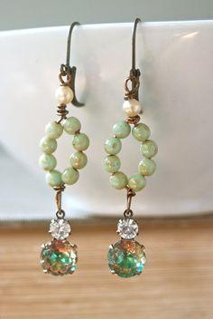 Nora. seafoam greenrhinestone drop earrings. by tiedupmemories, $28.00