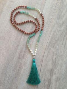 Oceanus  Rudraksha Bead Mala Necklace with Aqua by SaltAndMoon: