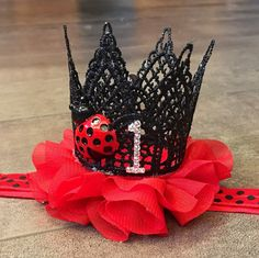 Excited to share this item from my shop: Ladybug first birthday headband, red black ladybug crown headband, ladybug birthday crown Girl First Birthday, First Birthday Parties, Birthday Ideas, Frozen Birthday, Ballerina Birthday, Ladybug 1st Birthdays, First Birthdays, Ladybug Party, Ladybug Tutu