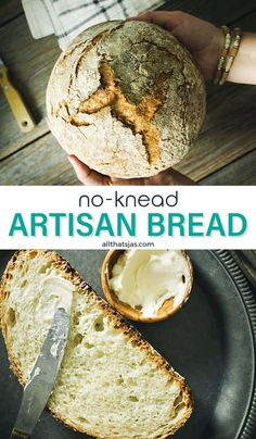 Is there anything better than the smell of freshly baked bread? The inside of this easy no-knead artisan bread is light, soft, and generally perfect, while the outside is crispy, crusty, and chewy - it's everything you could want in a good loaf of bread! | allthatsjas.com | #bread #noknead #Dutchoven #easy #yeast #homemade #recipes #dough #allthatsjas #artisan #crusty #homemadebread #baking #fromscratch #loaf #easy #rustic Loaf Recipes, Dishes Recipes, Pastry Recipes, Side Dish Recipes, Baking Recipes, Side Dishes, Homemade Buns, Recipe Maker, Bun Recipe