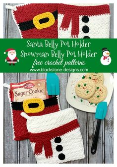 Santa Belly Pot Holder & Snowman Belly Pot Holder free crochet patterns from Blackstone Designs #crochet #freecrochetpattern #crochetsanta #crochetsnowman #crochetkitchen #kitchencrafts #santa #snowman #HolidayCrochet #Forthekitchen #fortheholidays #crochetpotholder #crochethotpad #sugarcookies