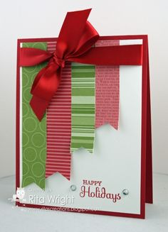 Scrap Christmas http://ritascreations.blogspot.com/2013/07/scrap-card-sunday-christmas.html Stamps: Holiday Happiness (retired) Ink: Real Red Paper: Real Red, Whisper White, scraps Accessories: Real Red satin ribbon (retired), Basic Rhinestones  Read more: http://www.splitcoaststampers.com/gallery/photo/2396959#ixzz2ZRhUnhac