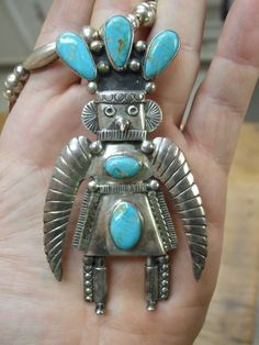A+ OLD NAVAJO STERLING SILVER & TURQUOISE KACHINA BIRD MAN FORM PENDANT NECKLACE | eBay
