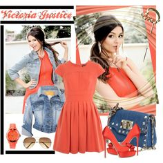 Hadn't thought of pairing the jeans jacket with my orange skater dress.till now Skater Dress, Dress Up, Style Me, Cool Style, Victoria Justice, Senior Girls, Summer Colors, Girl Fashion, Fashion Ideas