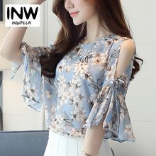 2018 Chiffon Floral Print Blouses For Women Ladies Fashion O-Neck Flare Sleeve Blusas Tops Female Cold Shoulder Summer Shirts Shifon Blouse, Printed Blouse, How To Tie Shoes, Chiffon Floral, Korean Blouse, Mode Hijab, Living At Home, Summer Shirts, Blouse Styles