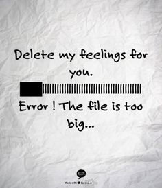Delete my feeling for you. Error! The file is too big... (DIGITALworld)
