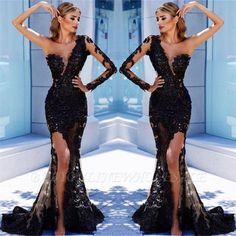 Black Lace Mermaid Sheer One Shoulder Long Sleeve Evening Dresses Formal Gowns Long Sleeve Evening Dresses, Mermaid Evening Dresses, Formal Evening Dresses, Dress Long, Black Prom Dresses, Prom Dresses Online, Bridesmaid Dresses, Lace Dresses, Party Dresses