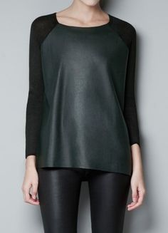 Black Long Sleeve Contrast PU Leather T-Shirt