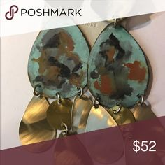 Earring Beautiful brass hand painted with green with tear drops anthropology Jewelry Earrings