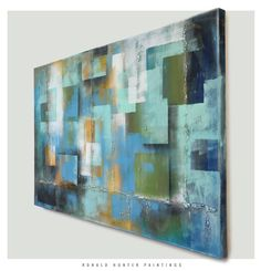 Squareness City lights Abstract painting 315 x by RonaldHunter, $419.00
