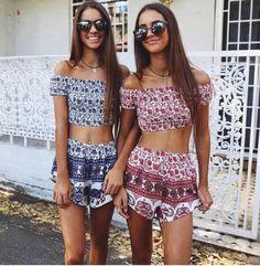 matching crop tops and high waisted shorts #dreamcloset