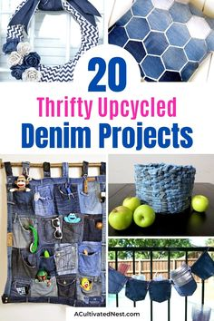 20 Thrifty Upcycled Denim Projects- For some fun and frugal ways to recycle your old jeans and denim clothes, check out these upcycled denim projects! Many of these crafts would make great DIY gifts! | ways to use old jeans, how to use up old jeans, handmade gift, homemade gift, easy sewing, beginner sewing, repurpose, recycle, #upcycling #diyGift #beginnerSewing #DIY #ACultivatedNest Rideaux Shabby Chic, Ways To Recycle, Diy Gifts, Handmade Gifts, Rustic Crafts, Dollar Store Crafts, Homemade Crafts, Recycled Crafts, Sewing For Beginners