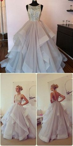 Gorgeous A-line Long Tulle Prom Dress Wedding Dress with Open Back from modsele
