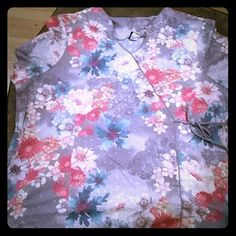 Women's plus size scrub top Beautiful scrub top, very feminine cut and style and lace eyelet material that is gray with beautiful pastel flowers. Only worn twice, excellent used condition. BARCO Uniforms Tops