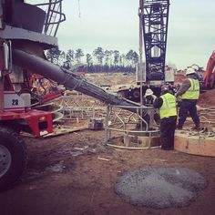 Pouring concrete for the SunTrust Park foundation