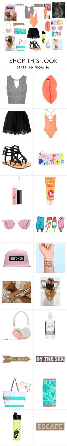 """""""Beach with beasties ❤️"""" by rebegundersen ❤ liked on Polyvore featuring Miss Selfridge, STELLA McCARTNEY, Twin-Set, Tart, Mystique, MAC Cosmetics, Oliver Peoples, Tattly, Flash Tattoos and Lulu DK"""