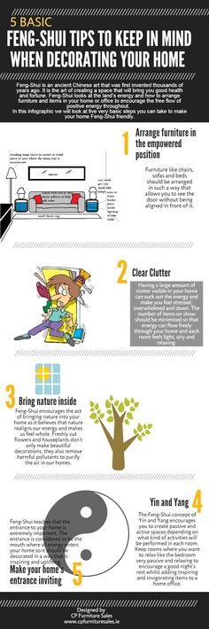 5 basic feng-shui tips to keep in mind when decorating your home | #fengshui #home #decoration #housedecoration #tips | Created in #free @Piktochart #Infographic Editor at www.piktochart.com