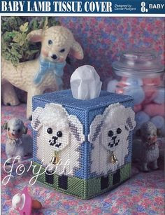 Baby Lamb Tissue Cover, Annies plastic canvas pattern in Crafts, Needlecrafts & Yarn, Needlepoint & Plastic Canvas Plastic Canvas Books, Plastic Canvas Coasters, Plastic Canvas Tissue Boxes, Plastic Canvas Crafts, Plastic Canvas Patterns, Canvas Art Projects, Canvas Ideas, Kleenex Box, Baby Lamb