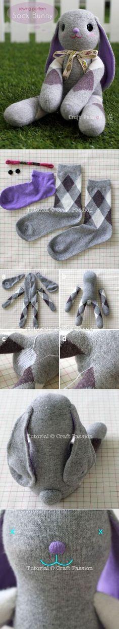 Sock Bunny Lop-Eared -Free Sew Pattern