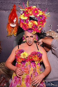 Stock Photography: Drag queen getting dressed for show.