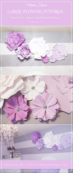 DIY Large Paper Flowers and Flower Blooms as above headboard decor. Great and inexpensive idea. Can also be used as a wedding backdrop. From blogger www.sengerson.com.